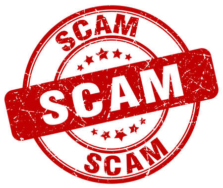 scam: scam red grunge round vintage rubber stamp Illustration