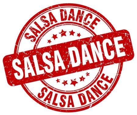 salsa dance: salsa dance red grunge round vintage rubber stamp