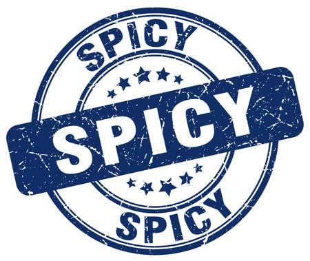 spicy: spicy blue grunge round vintage rubber stamp Illustration