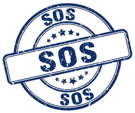 sos: sos blue grunge round vintage rubber stamp
