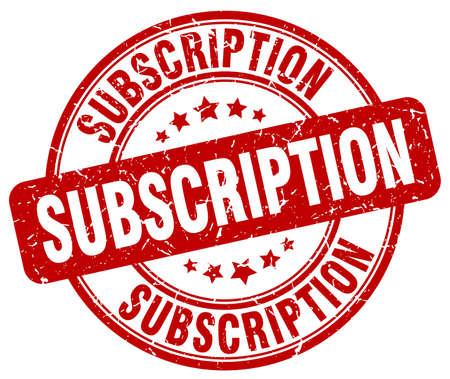 subscription red grunge round vintage rubber stamp