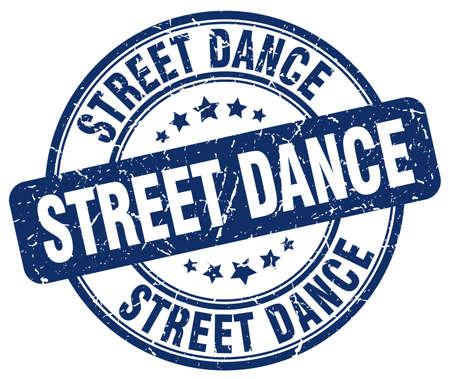 street dance: street dance blue grunge round vintage rubber stamp