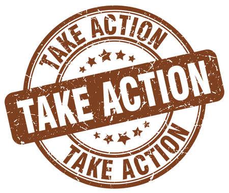 take action: take action brown grunge round vintage rubber stamp