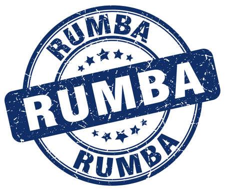 rumba: rumba blue grunge round vintage rubber stamp