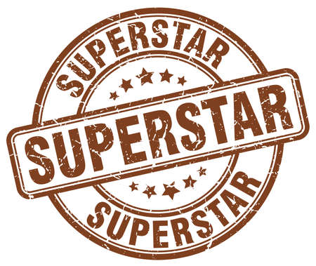 superstar: superstar brown grunge round vintage rubber stamp Illustration