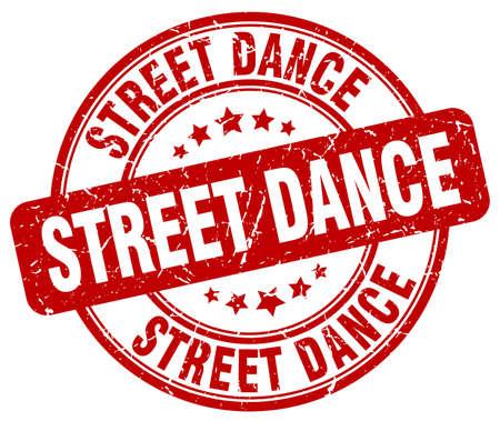 street dance: street dance red grunge round vintage rubber stamp