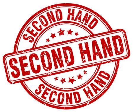 second: second hand red grunge round vintage rubber stamp