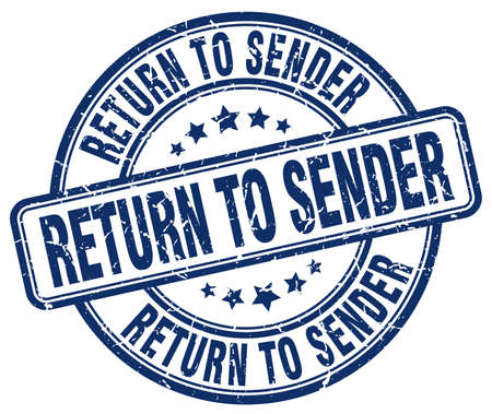return: return to sender blue grunge round vintage rubber stamp