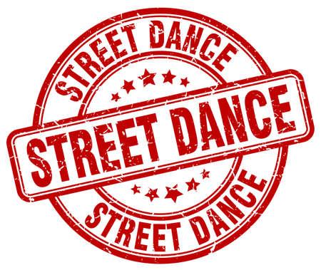 round dance: street dance red grunge round vintage rubber stamp