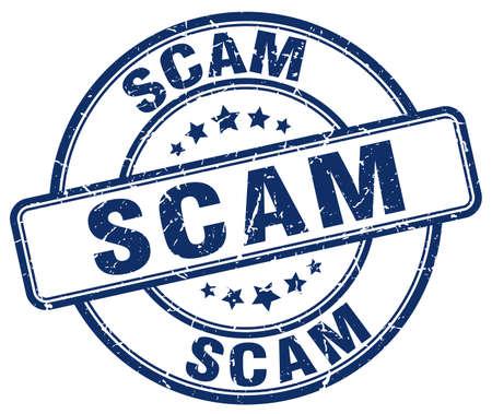 scam: scam blue grunge round vintage rubber stamp