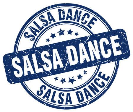 salsa dance: salsa dance blue grunge round vintage rubber stamp