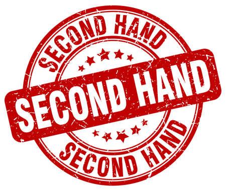 second hand: second hand red grunge round vintage rubber stamp