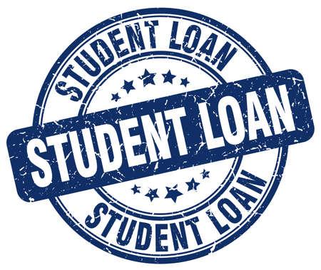student loan: student loan blue grunge round vintage rubber stamp