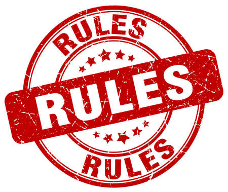 rules: rules red grunge round vintage rubber stamp