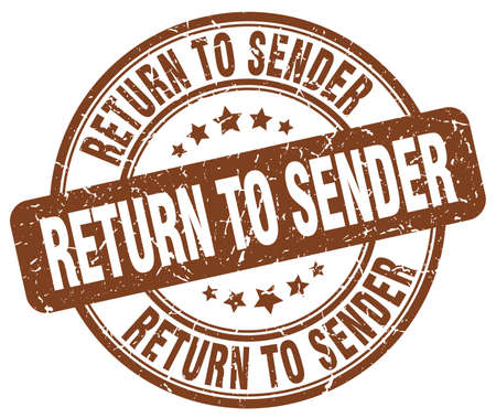 return: return to sender brown grunge round vintage rubber stamp