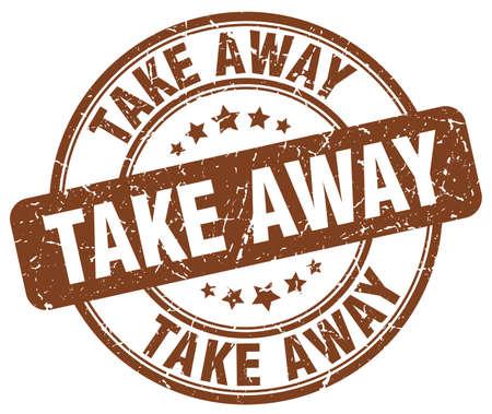take away: take away brown grunge round vintage rubber stamp