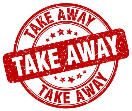 take away: take away red grunge round vintage rubber stamp