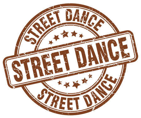 street dance: street dance brown grunge round vintage rubber stamp Illustration