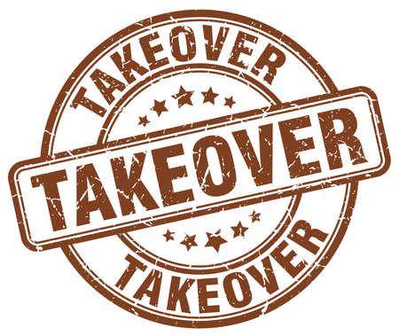 takeover: takeover brown grunge round vintage rubber stamp Illustration