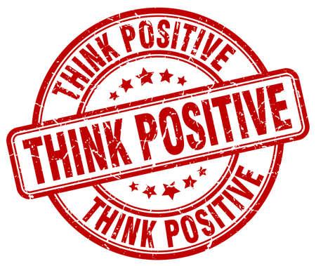 think positive: think positive red grunge round vintage rubber stamp Illustration