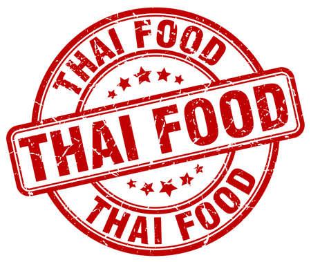 thai food: thai food red grunge round vintage rubber stamp Illustration