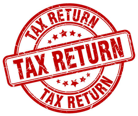 tax return red grunge round vintage rubber stamp Vector Illustration
