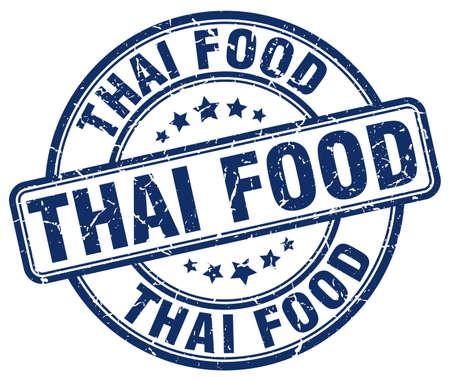 thai food: thai food blue grunge round vintage rubber stamp