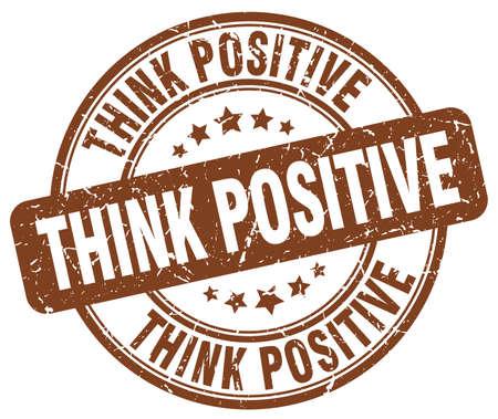 think positive: think positive brown grunge round vintage rubber stamp Illustration