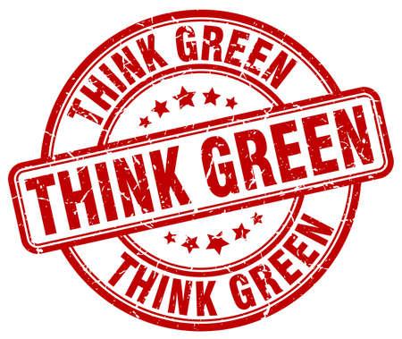 think green: think green red grunge round vintage rubber stamp