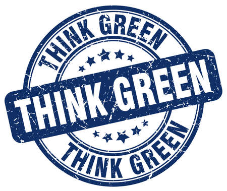 think green: think green blue grunge round vintage rubber stamp Illustration