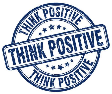 think positive: think positive blue grunge round vintage rubber stamp