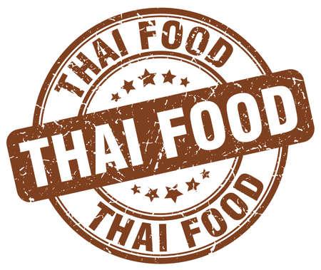 thai food: thai food brown grunge round vintage rubber stamp Illustration