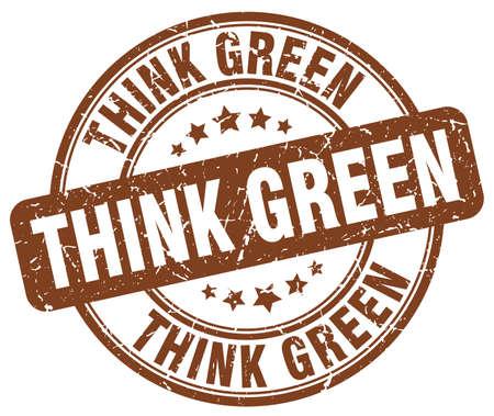 think green: think green brown grunge round vintage rubber stamp