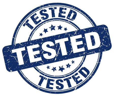 tested: tested blue grunge round vintage rubber stamp