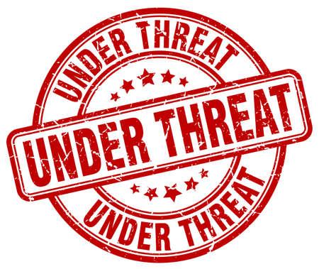threat: under threat red grunge round vintage rubber stamp
