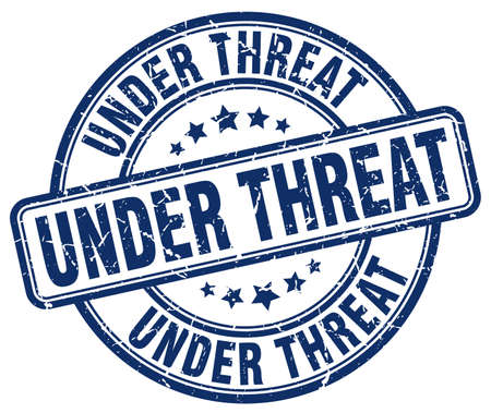 threat: under threat blue grunge round vintage rubber stamp