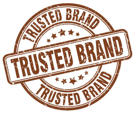 trusted: trusted brand brown grunge round vintage rubber stamp