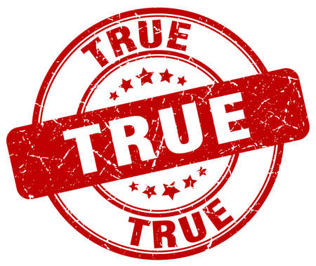 true: true red grunge round vintage rubber stamp Illustration
