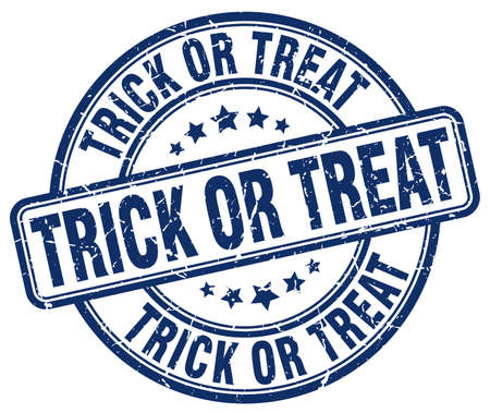 treat: trick or treat blue grunge round vintage rubber stamp