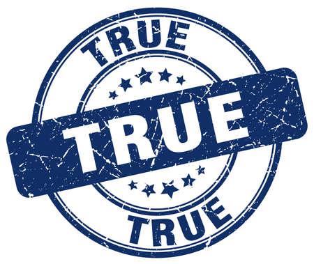 true: true blue grunge round vintage rubber stamp