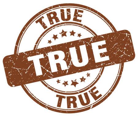 true: true brown grunge round vintage rubber stamp