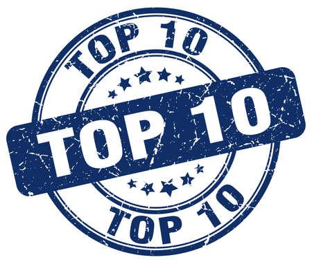 top 10 blue grunge round vintage rubber stamp