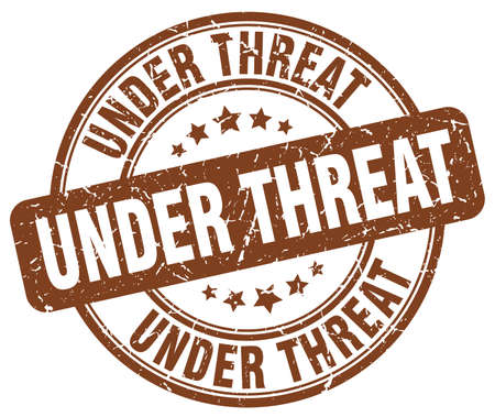 threat: under threat brown grunge round vintage rubber stamp