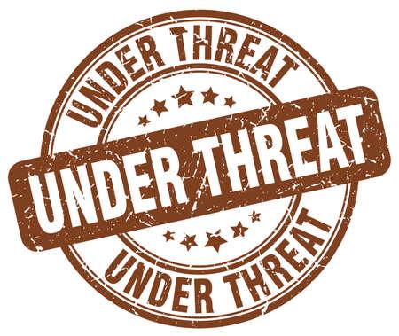 threat: under threat brown grunge round vintage rubber stamp
