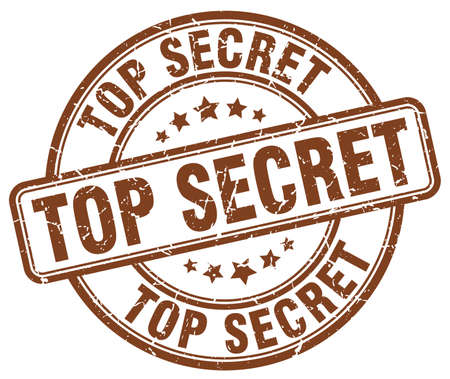 top secret: top secret brown grunge round vintage rubber stamp