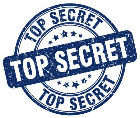 top secret blue grunge round vintage rubber stamp