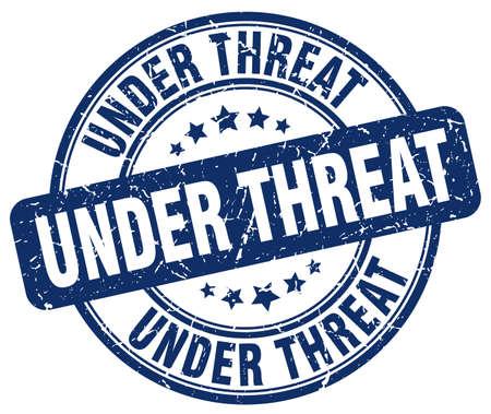 threat: under threat blue grunge round vintage rubber stamp