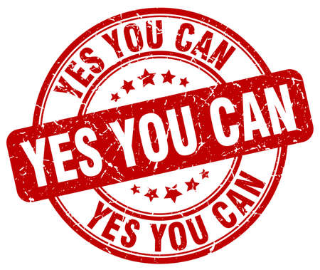 can yes you can: yes you can red grunge round vintage rubber stamp Illustration