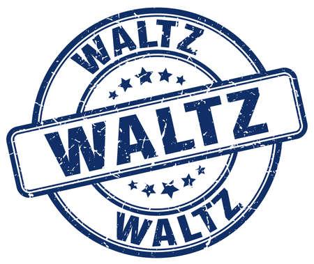 waltz: waltz blue grunge round vintage rubber stamp