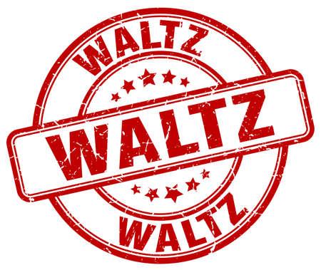 waltz: waltz red grunge round vintage rubber stamp